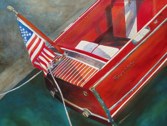 Red in the Water - Classic Boat Paintings by Janne Matter
