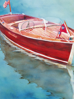 Runabout - Wooden Boat Paintings by Janne Matter