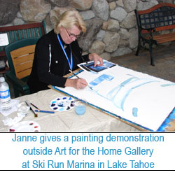 Janne give a painting demonstration at Art for the Home Gallery at the Ski Run Marina in Lake Tahoe