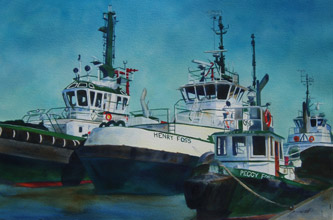 Pacific Stars - Tug Boat Paintings by Janne Matter