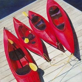 red_lane - Kayak Paintings by Janne Matter