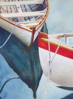 Chance Meeting - Wooden Boat Paintings by Janne Matter