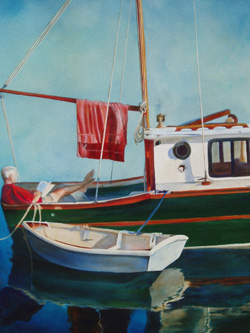 Day's End - Wooden Boat Paintings by Janne Matter