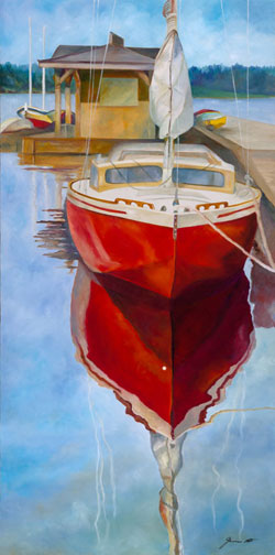 Red Ridyer - Wooden Boat Paintings by Janne Matter