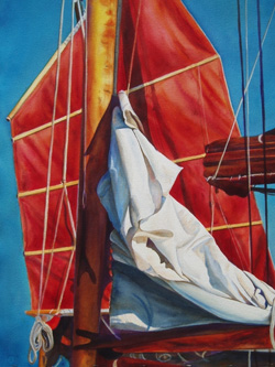 Sails Meetings - Wooden Boat Paintings by Janne Matter