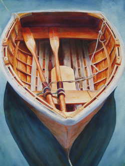She Waits - Wooden Boat Paintings by Janne Matter